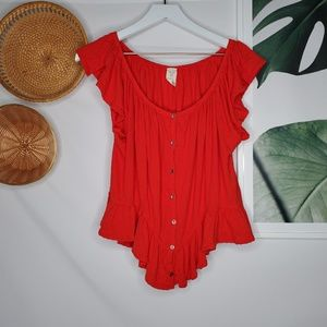 Free People Romantic Button Front Blouse Red Boho
